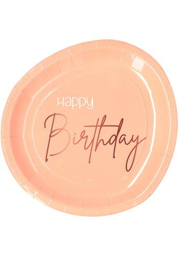 Borden Elegant Lush Blush Happy Birthday 23cm - 8 stuks
