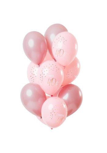 Ballonnen Elegant Blush 40 Jaar - 30cm - 12 stuks