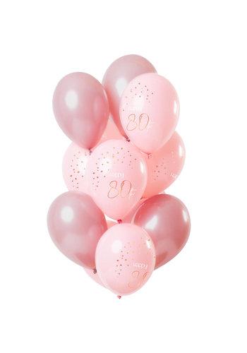 Ballonnen Elegant Blush 80 Jaar - 30cm - 12 stuks
