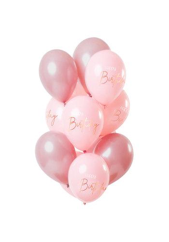 Ballonnen Elegant Blush Happy Birthday - 30cm - 12 stuks
