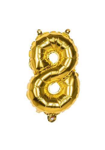Folieballon cijfer 8 Goud - lucht gevuld - 36cm