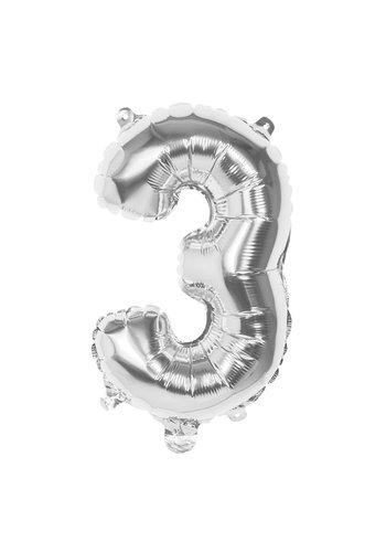 Folieballon cijfer 3 Zilver - lucht gevuld - 36cm