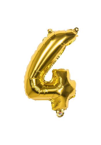 Folieballon cijfer 4 Goud - lucht gevuld - 36cm
