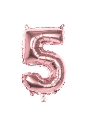 Folieballon cijfer 5 Rosé Gold - lucht gevuld - 36cm
