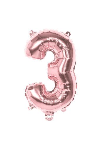 Folieballon cijfer 3 Rosé Gold - lucht gevuld - 36cm