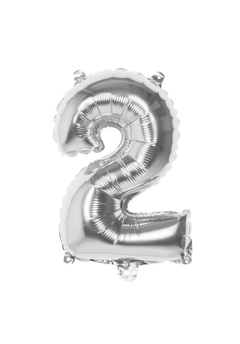 Folieballon cijfer 2 Zilver - lucht gevuld - 36cm