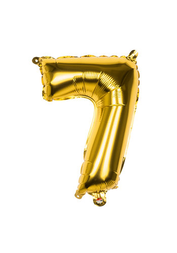 Folieballon cijfer 7 Goud - lucht gevuld - 36cm