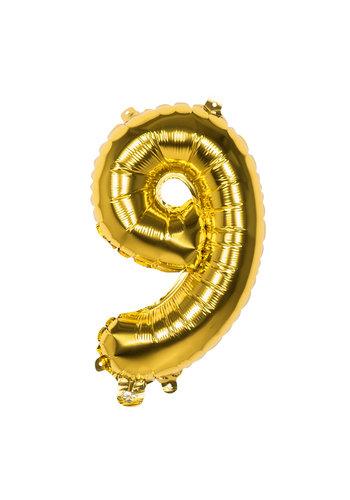 Folieballon cijfer 9 Goud - lucht gevuld - 36cm