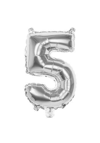 Folieballon cijfer 5 Zilver - lucht gevuld - 36cm