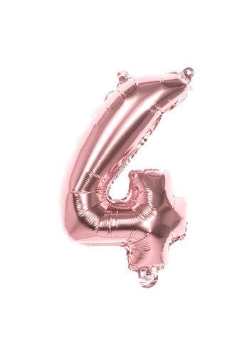 Folieballon cijfer 4 Rosé Gold - lucht gevuld - 36cm