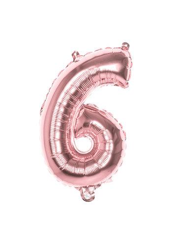 Folieballon cijfer 6 Rosé Gold - lucht gevuld - 36cm