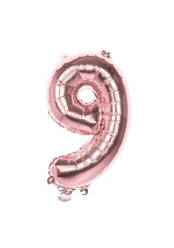 Folieballon cijfer 9 Rosé Gold - lucht gevuld - 36cm