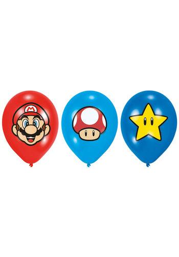 """Super Mario Bros latex ballonnen - 6 st - 27,5 cm / 11 """""""