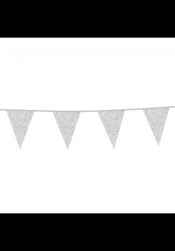 Sparkling Silver glitter vlaggenlijn - 6 meter - 20x30cm