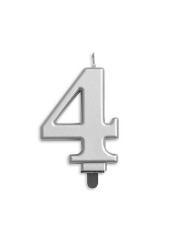 Cijfer kaars metallic zilver - nr. 4 - 7,8cm