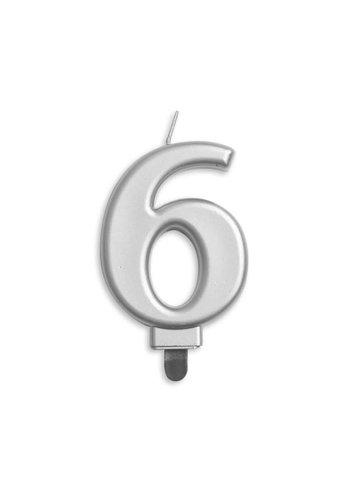 Cijfer kaars metallic zilver - nr. 6 - 7,8cm