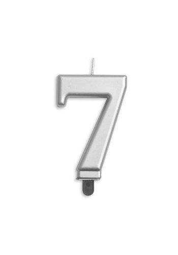 Cijfer kaars metallic zilver - nr. 7 - 7,8cm