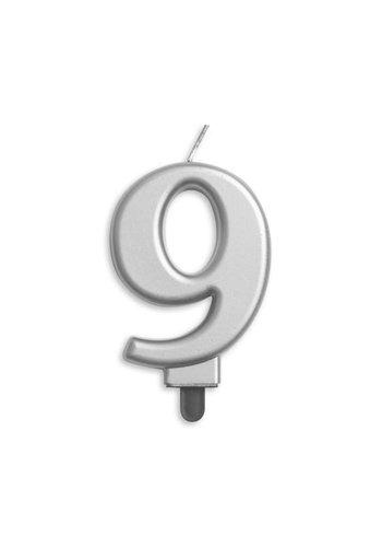 Cijfer kaars metallic zilver - nr. 9 - 7,8cm