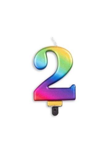Cijfer kaars metallic regenboog - nr. 2 - 7,8cm