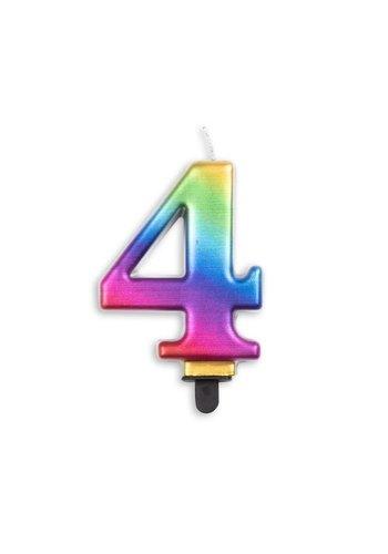 Cijfer kaars metallic regenboog - nr. 4 - 7,8cm