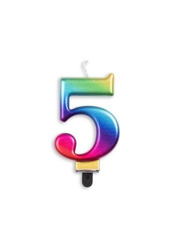 Cijfer kaars metallic regenboog - nr. 5 - 7,8cm