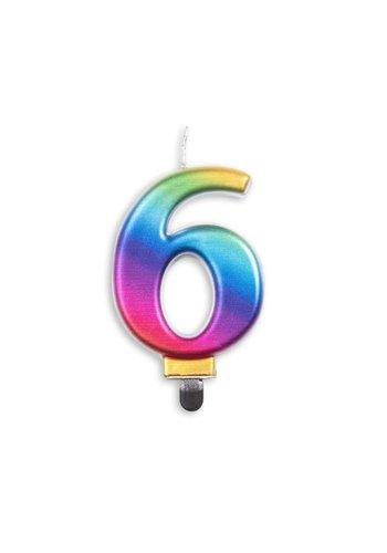 Cijfer kaars metallic regenboog - nr. 6 - 7,8cm