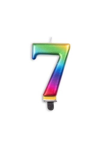Cijfer kaars metallic regenboog - nr. 7 - 7,8cm