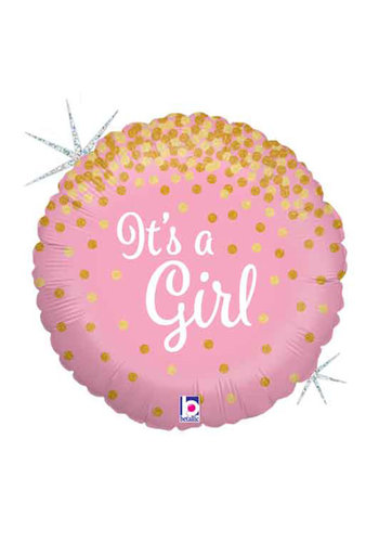 Folieballon Glitter Holographic It's a Girl - 45 cm