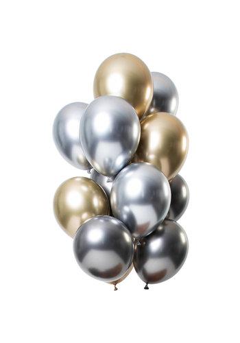 Ballonnen Chrome Zilver / Goud / Antraciet - 33cm - 12 stuks