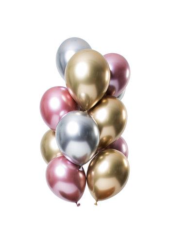 Ballonnen Chrome Zilver/Goud/Roze - 33cm - 12 stuks