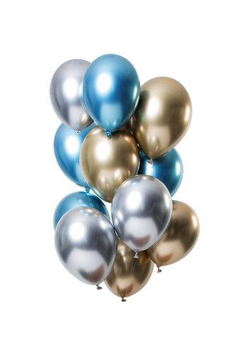 Ballonnen Chrome Zilver / Goud / Blauw - 33cm - 12 stuks