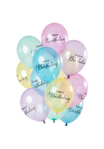 Ballonnen 'Happy Birthday' Pastel Transparant - 30cm - 12 stuks