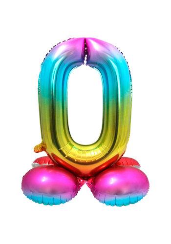 Folieballon met Standaard Cijfer 0 Regenboog - 71 cm