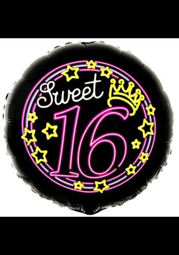 Folieballon Neon Sweet 16 - 45cm