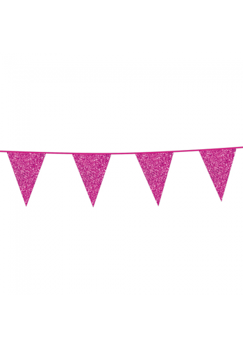 Sparkling Hot Pink Glitter Vlaggenlijn - 6 meter
