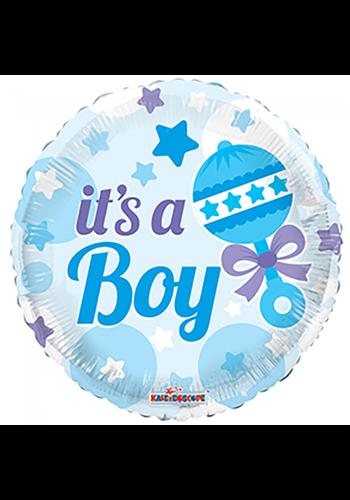 Folieballon Baby Rammelaar Jongen - 45cm