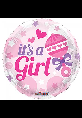 Folieballon Baby Rammelaar Meisje - 45cm