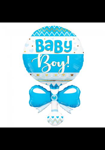 Folieballon XL Baby Jongen Rammelaar Blauw - 91,4 cm