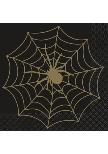Servetten Black & Gold Spider Web - 33x33cm - 16st