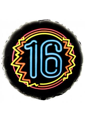 Neon Folieballon - 16 Jaar