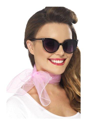 Jaren 50 Hals sjaaltje - roze - chiffon stijl