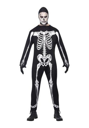 Skeletkostuum jumpsuit, capuchon en handschoenen