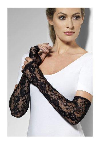 Vinger loze Kanten Handschoenen - Zwart