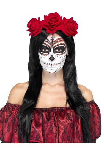 Day of the Dead Headband - with Red Roses
