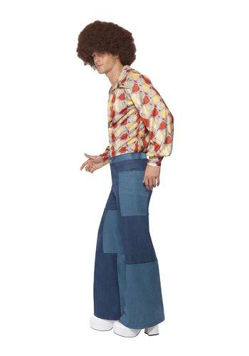Deluxe uitlopende jaren 70-broek, heren, blauw, patchwork-denim