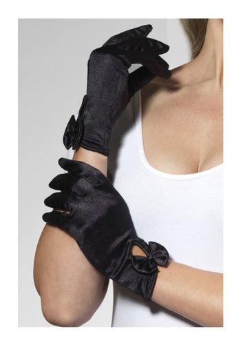 Handschoenen kort met strik - Zwart