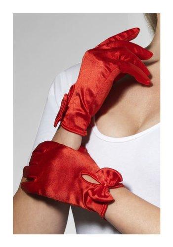 Handschoenen kort met strik - Rood