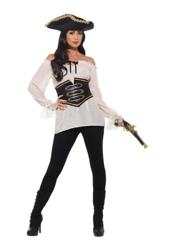 Deluxe Dames Piratenshirt - Ivoor