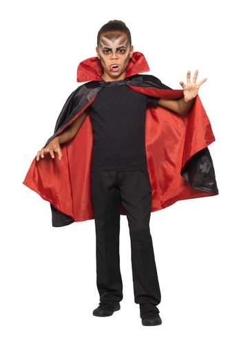 Omkeerbare Vampier Cape - Zwart / Rood