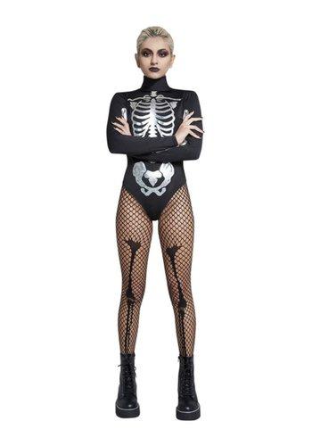 Fever Skelet Body Stocking - Zwart & Zilver